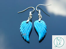 Blue Turquoise Angel Wing Manmade Gemstone Earrings