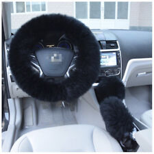 3pcs Black Furry Steering Wheel +Gear Knob Shifter+Parking Brake Cover 36-38cm