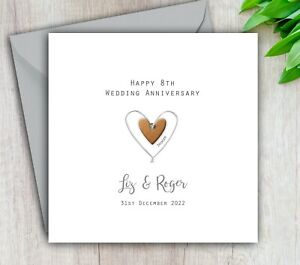 Personalised Handmade 8th Wedding Anniversary Card Bronze - Mum Dad Husband Wife