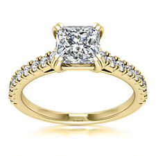 Solitaire 1 Carat SI1/H Princess Cut Diamond Engagement Ring Yellow Gold