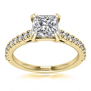 2.00 CT Princess Cut H VS2 Diamond Engagement Ring 14K Yellow Gold Enhanced