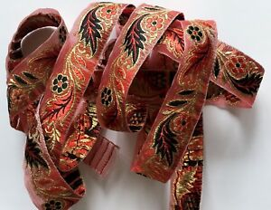 """JASDEE Vintage Jacquard Ribbon 1"""" Inch Floral Embriodery Style R1009"""