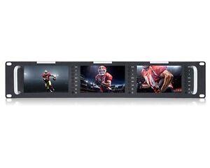 "Pro Triple 5"" 2RU 800×480 Broadcast LCD Rack Mount Monitor with 3G-SDI HDMI AV"