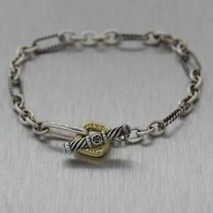David Yurman Sterling Silver & 18k Yellow Gold Toggle Bracelet