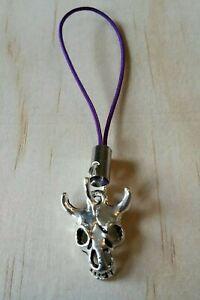 Lanyard charm for Zip Cow skull purple