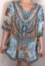 Sparkly Kaftan Diamantes Crystals Blue Tan Floral Pearls Floaty Fits 16-20 NEW