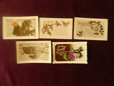 5x Vintage 1910s/1920s Greetings Postcards With Embossed Edges Luck New Year Etc