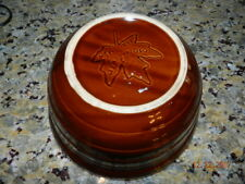 """Vintage Hull Brown Drip Pottery Mixing Serving Bowl 10"""" Monmouth"""