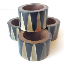 Vintage Acrylic Wood Triangle Napkin Rings Holders Set of 4 Wooden Tortoiseshell