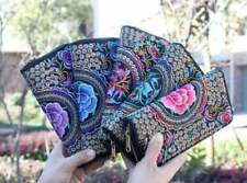 Retro Ethnic Flower Embroidered Coin Purse Bag Handmade Wallet Clutch Handbag