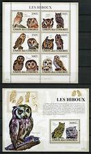 Comoros Comores 2009 MNH Owls 6v M/S 1v S/S Hiboux Owl Birds Stamps