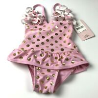 Floatimini Girls Swim Suit One Piece Lined Pink Gold Youth Size 2T
