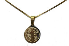 San Benito Stainless Steel Gold Pendant with 18 inch Chain- Enchape de Oro