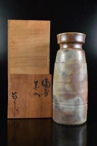 L536: Japan Bizen-ware Youhen pattern sculpture FLOWER VASE Ikebana w/signed box