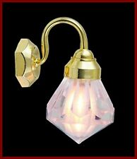 1:12 Scale Single Wall Light With A Crystal Shade Tumdee Dolls House 2073