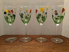 New listing 4 Goblets, Glasses, Stemware, with Hand Painted Flowers 12 Oz.
