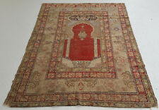 "New listing Antique Silk Turkish Prayer Oriental Rug Hand Knotted 4' 3"" X 6' 1"""