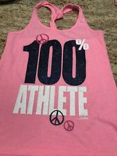 Girls Justice Pink Blue Glam 100% Athlete Tank Top Shirt- 14- Cute! Euc
