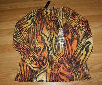 NWT Womens CHAUS SPORT Orange Yellow Print Cowl Neck Shirt Tiger Size L Large