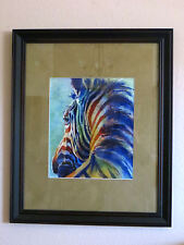 Zebra water color print -  matted, framed ready to hang  limited edition #287