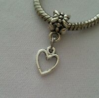 Police 3 D Handcuff Charm on Heart Print Slider Bead for Bracelets or Necklace