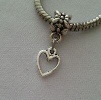 Silver Heart Dangle Bead Slider for European Style Charm Bracelet Necklace