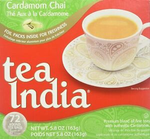Tea India round Tea Bags, Cardamon Chai, 72 Count per box foil packed exp 3/21