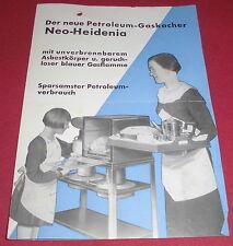 prospekt blatt alt petroleum gas kocher ofen neo heidenia reklame werbung 1940er