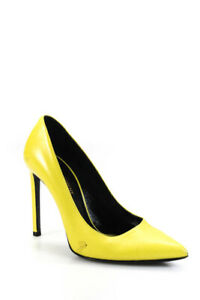 Saint Laurent Womens Pointed Toe Slip On Stiletto Heel Pumps Yellow Size 6.5