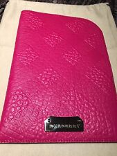 NEW BURBERRY Embossed Check  Fuchsia Leather iPad I  Pad Case Sleeve Pouch
