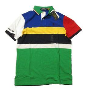 Polo Ralph Lauren Big & Tall Men's Blue Multi Colorblock Short Sleeve Polo Shirt