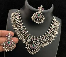 925 Sterling Silver Zircon Statement Necklace Set Indian Ethnic Tribal Jewelry3