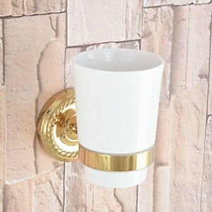 1 Ceramic Cup Gold Color Brass Wall Mount Bathroom Toothbrush Holder 2ba592