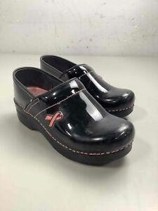 Women's Dansko Black Patent Leather Clogs Size 36