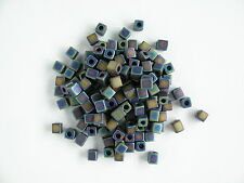 Miyuki Square Rainbow Frosted Opaque Black Beads (cubes) 3.5-3.7mm square (20g)