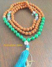 GREEN JADE RUDRAKSHA BUDHA CRYSTAL STONE JAPA MALA ROSARY BEADS MEDITATION YOGA