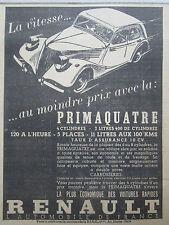 4/1937 PUB AUTOMOBILE RENAULT PRIMAQUATRE CAR WAGEN ORIGINAL FRENCH AD