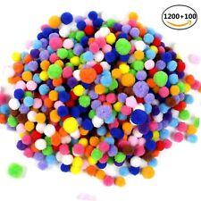 1200 1cm +100 1.5cm Assorted Pom Poms for DIY Creative Decorations Craft Pompoms