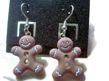 Gingerbread Man Christmas time Drop Dangle Gold (nickel free) Earring Hooks