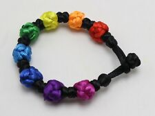 5 Rainbow Chinese Satin Rattail Cord Knotted Woven Bracelet Bangle Wristbands