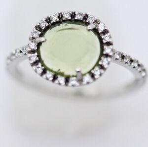 Pomellato Ring 18k W Gold Peridot Diamond Papers Box w Appraisal (5950)