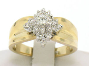 14k Yellow Gold 0.50ctw Terraced Round Brilliant Diamond Cluster Cocktail Ring