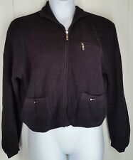 Jamie Sadock black zipper cardigan Sweater long sleeve knit womens size L