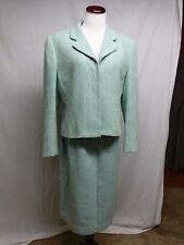 14 Carlisle Wool Cotton Skirt Suit Turquoise Blue Green Tweed Hong King