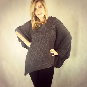 KNITTED PONCHO CAPE CHECK KNIT RIBBED POLO NECK COLLAR STONE BLACK GREY 8 - 18