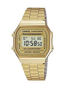 Casio Dorato Orologio Unisex A168WG-9 Illuminator Vintage Illuminazione Led Gold