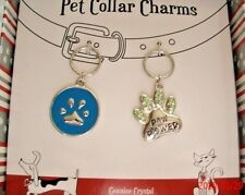 Pet Collar Charms 2pc Set Talk to Paw Pawsitively Spoiled Paw Power Dog Cat