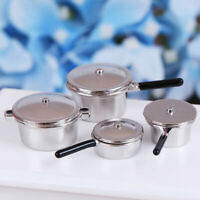 4Pcs 1:12 Dollhouse Miniature Metal Mini Pot Set Doll House Kitchen FurniturBDA