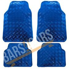 Blue Checker Style Shiny Car Rubber Floor Mats Set fits VW Polo Golf Fox Lupo