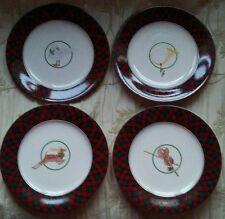 Sasaki TARTAN PLAID-RED Horn, Goose, Violin, Deer Accent Salad Plates - Set of 4